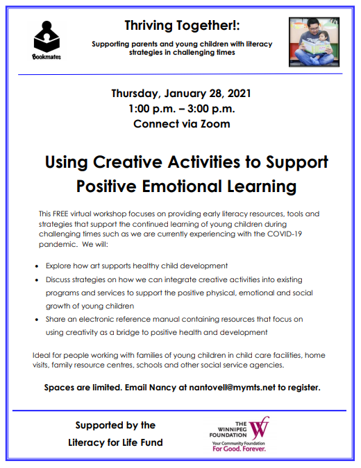 """Using Creative Activities to Support Positive Emotional Learning"" workshop @ Connect via Zoom"