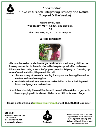 """Take It Outside: Integrating Literacy and nature"" workshop @ Connect via Zoom"